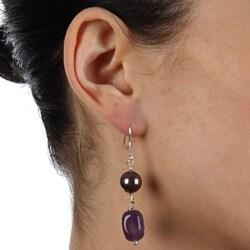 Glitzy Rocks Silver Amethyst and Faux Pearl Dangle Earrings - Thumbnail 2