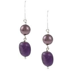 Glitzy Rocks Silver Amethyst and Faux Pearl Dangle Earrings