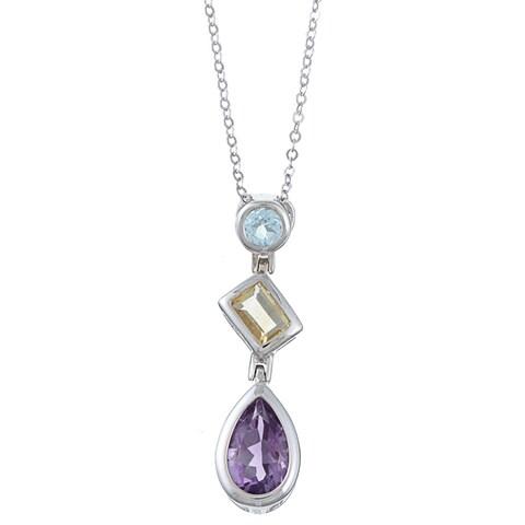 La Preciosa Sterling Silver Amethyst, Citrine and Blue Topaz Necklace