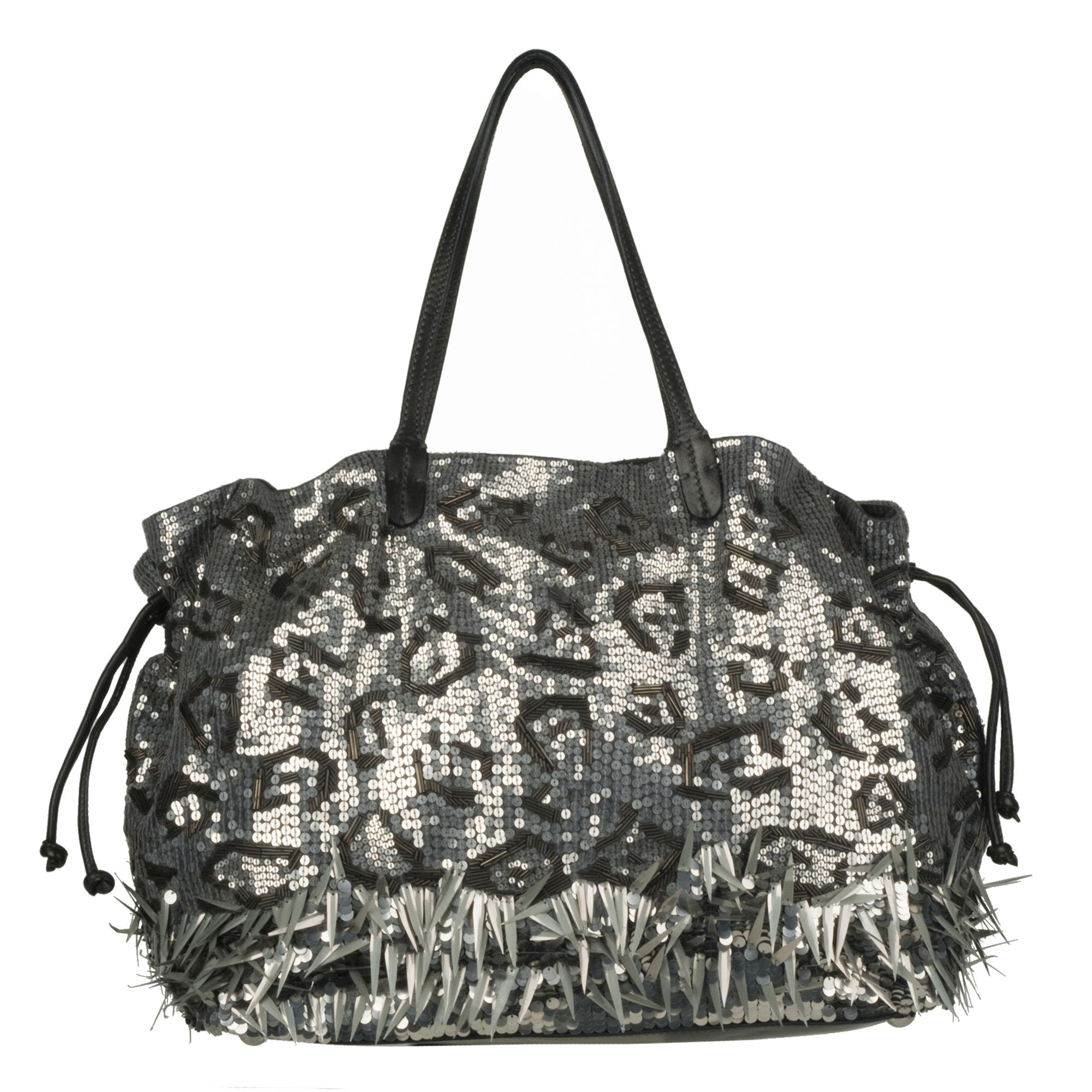Valentino 7WB00611 Leather Sequin Embellished Shopper Bag