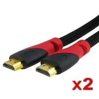 INSTEN Premium Mesh Black with Red 15-foot HDMI Cable (Pack of 2)