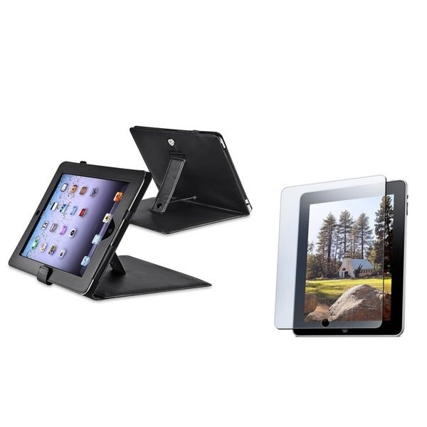 INSTEN Black Leather Tablet Case Cover with Anti-glare Screen Protector for Apple iPad