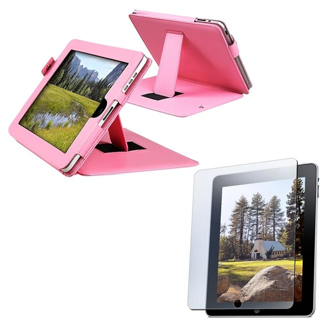 INSTEN Pink Leather Tablet Case Cover with Screen Protector for Apple iPad