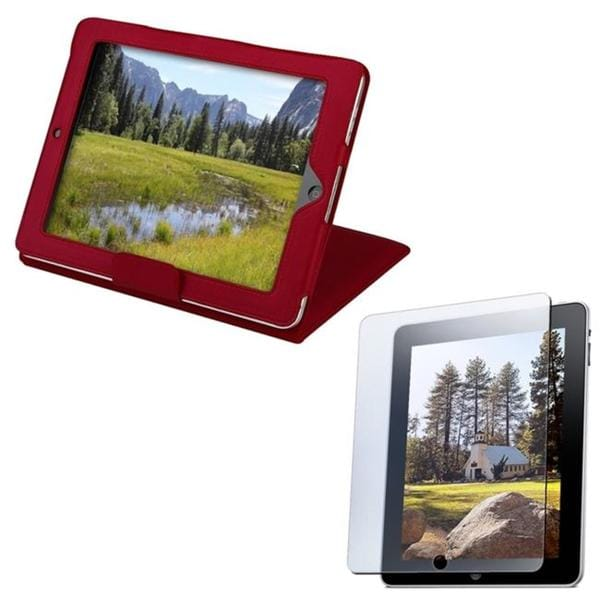 INSTEN Red Leather Tablet Case Cover with Anti-glare Screen Protector for Apple iPad