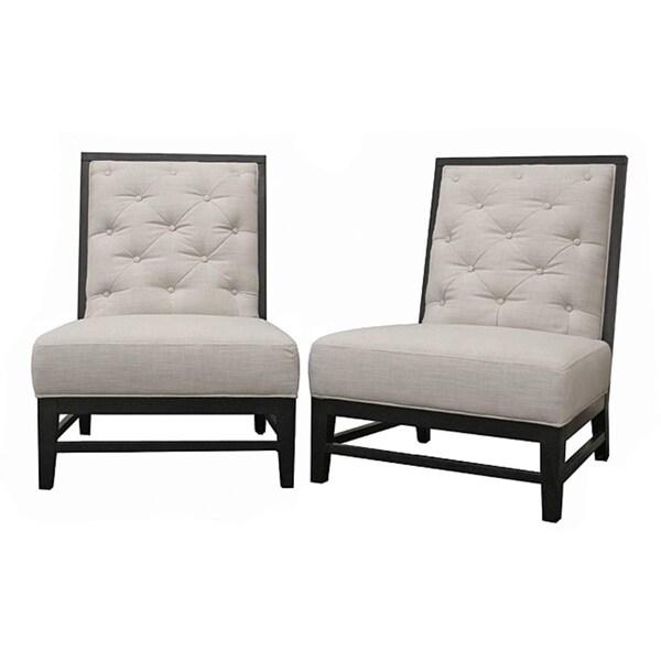 Bristol Tufted Grey Linen Modern Lounge Chairs (Set of 2)