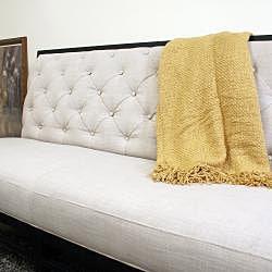 Bristol Tufted Gray Linen Modern Sofa - Thumbnail 2