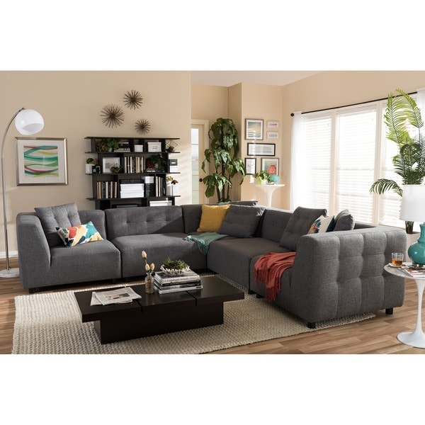 Alcoa grey fabric modular modern sectional sofa free for Sofas modulares baratos