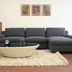 Kaspar Slate Grey Fabric Modern Sectional Sofa