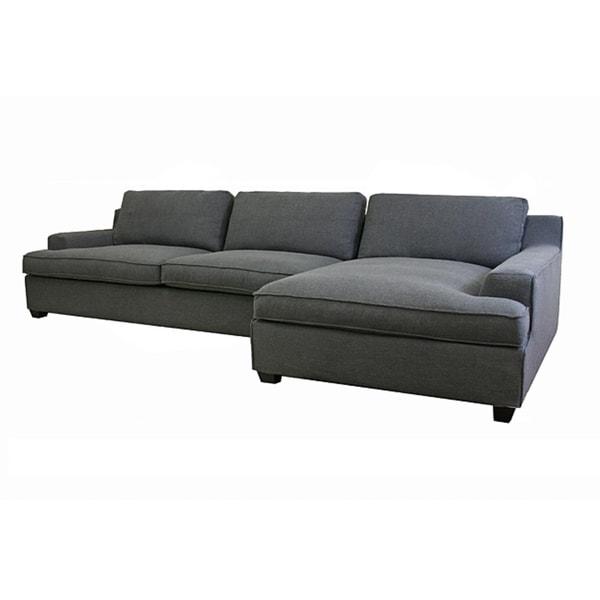 Kaspar Slate Grey Fabric Modern Sectional Sofa