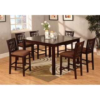 Furniture of America Fito Cottage Brown 7-piece Counter Dining Set