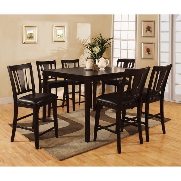 Furniture Of America Vays Modern Brown Solid Wood 7 Piece Counter Set