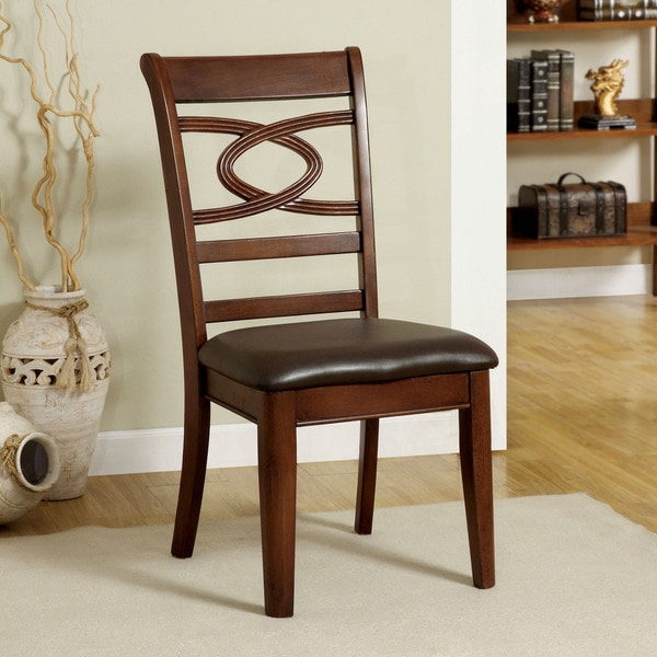 Furniture of America Cherry Brown Finish Dining Chairs (Set of 2)