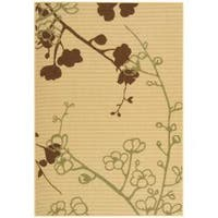 Safavieh Courtyard Floral Branches Natural/ Olive Green Indoor/ Outdoor Rug - 6'7 x 9'6