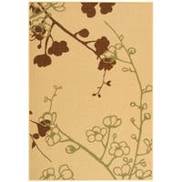 "Safavieh Courtyard Floral Branches Natural/ Olive Green Indoor/ Outdoor Rug - 6'-7"" x 9'-6"""