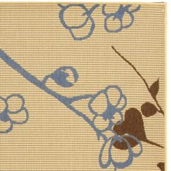Safavieh Courtyard Floral Branches Natural/ Blue Indoor/ Outdoor Rug (6'7 x 9'6) - Thumbnail 1