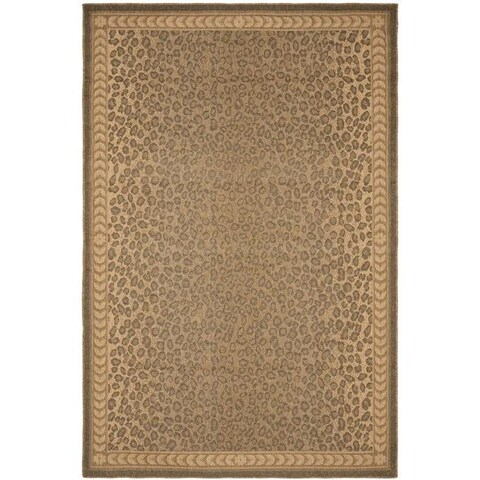 Safavieh Courtyard Natural/ Gold Leopard Print Indoor/ Outdoor Rug - 4' x 5'7""