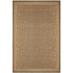 "Safavieh Courtyard Natural/ Gold Leopard Print Indoor/ Outdoor Rug (4' x 5'7"") - 4' x 5'7"