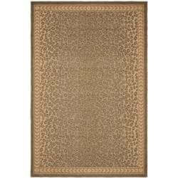 Safavieh Courtyard Natural/ Gold Leopard Print Indoor/ Outdoor Rug (5'3 x 7'7)