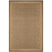 "Safavieh Courtyard Natural/ Gold Leopard Print Indoor/ Outdoor Rug - 5'3"" x 7'7"""