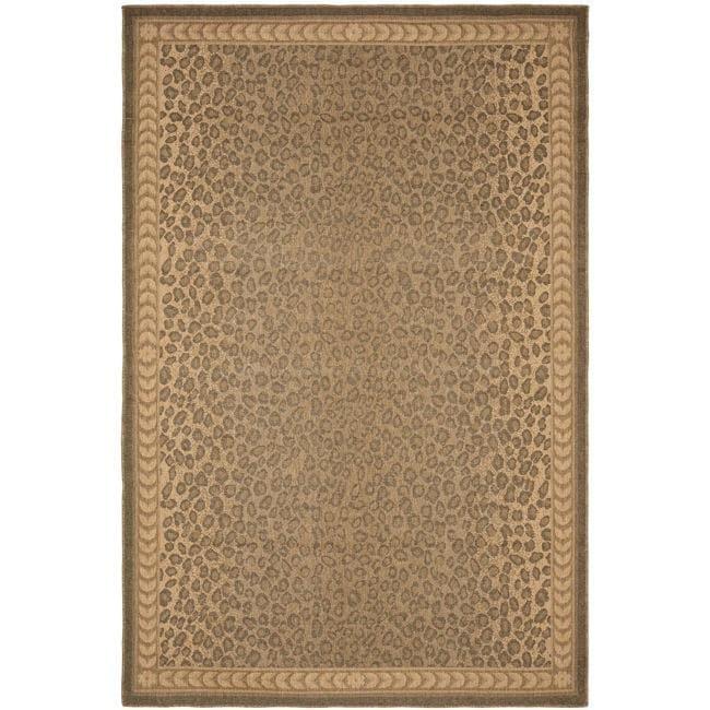 Safavieh Courtyard Natural/ Gold Leopard Print Indoor/ Outdoor Rug - 7'10' x 11'