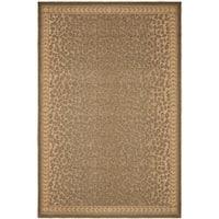 "Safavieh Courtyard Natural/ Gold Leopard Print Indoor/ Outdoor Rug - 7'10"" x 11'"