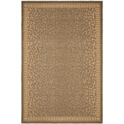 "Safavieh Courtyard Natural/ Gold Leopard Print Indoor/ Outdoor Rug (7'10"" x 11')"