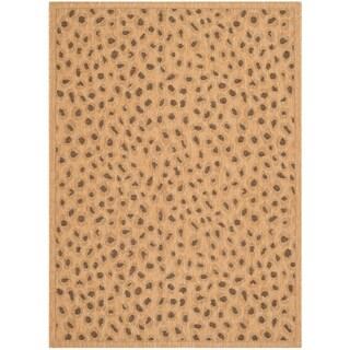 """Safavieh Courtyard Natural/ Leopard Print Indoor/ Outdoor Rug - 4' x 5'7"""""""