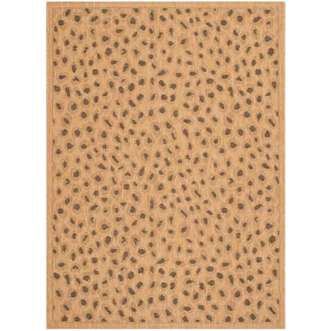 "Safavieh Courtyard Natural/ Leopard Print Indoor/ Outdoor Rug - 6'7"" x 9'6"""