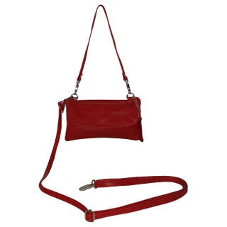 Amerileather Mia Small Leather Bag (Option: Silver/Red)