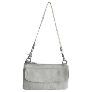 Amerileather Mia Small Leather Bag (Option: Silver/Off-White)