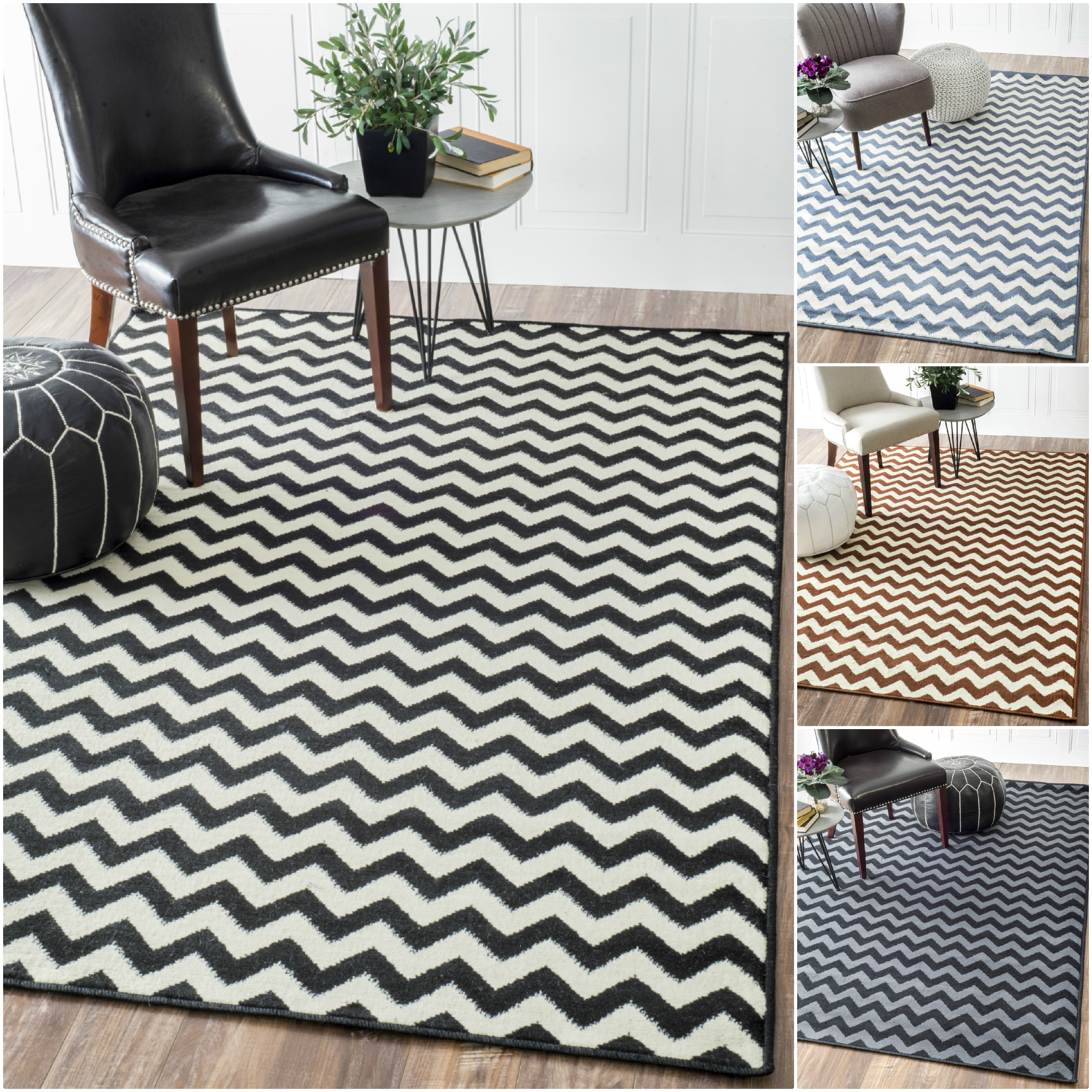 Williamsburg Bedford Chevron Zebra Rug (5' x 8') - Thumbnail 0