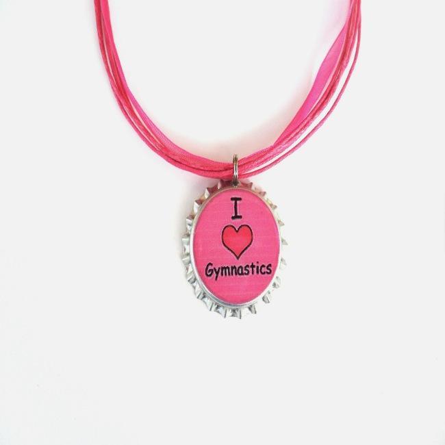 Hot Pink 'I Love Gymnastics' Bottle Cap Necklace