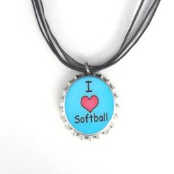 'I Love Softball' Bottle Cap Necklace