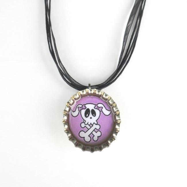 Purple Skull Bottle Cap Necklace