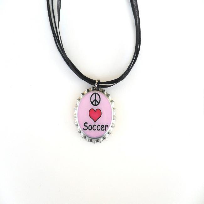 Peace Love Soccer Bottle Cap Necklace