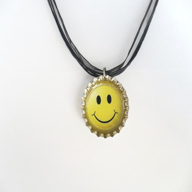 Yellow Smiley Face Bottle Cap Necklace