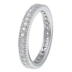 Celeste Sterling Silver Stackable Cubic Zirconia Micro Pave Eternity Stack Ring