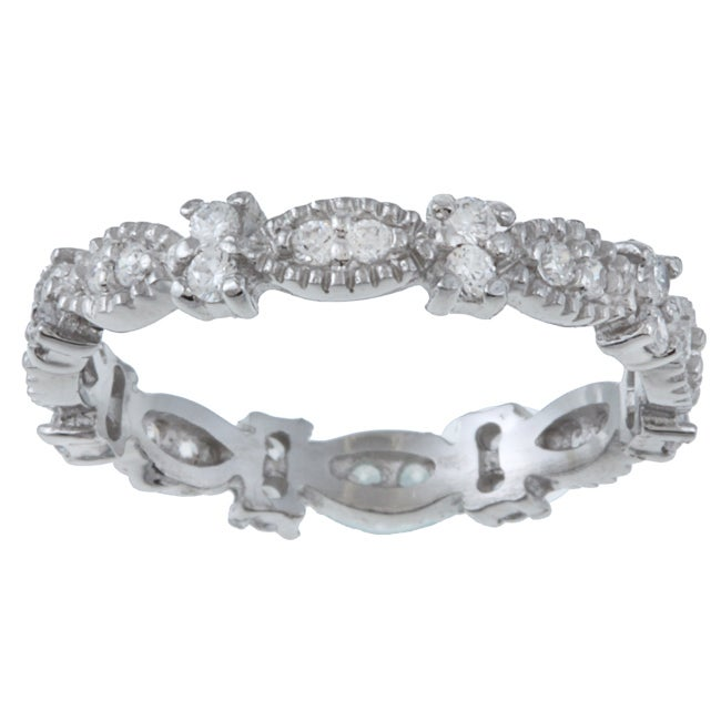 Celeste Sterling-Silver Polished Stackable Cubic Zirconia Micro Pave Stack Ring