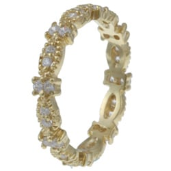 Celeste Gold over Silver Stackable Clear Cubic Zirconia Micro-Pave Stack Ring - Thumbnail 1