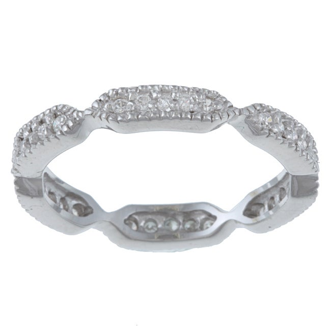 Sterling Silver Pave Cubic Zirconia Stackable Eternity Ring - Thumbnail 0