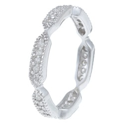 Sterling Silver Pave Cubic Zirconia Stackable Eternity Ring - Thumbnail 1