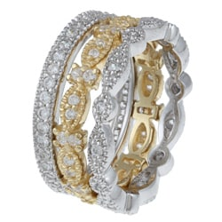 Celeste Gold Overlay and Silver Clear Cubic Zirconia Rings (Set of 3)