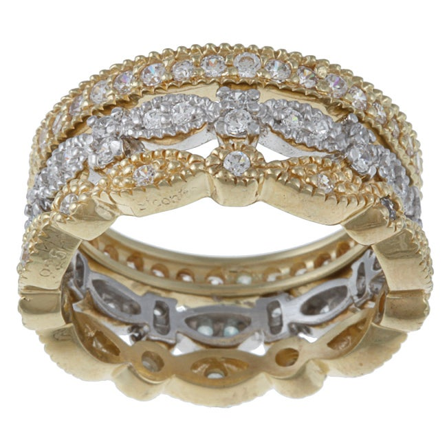 Celeste Gold Overlay and Sterling Silver Round-Cut Cubic Zirconia Rings (Set of 3)