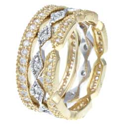 Celeste Gold Overlay and Sterling Silver Cubic Zirconia Rings (Set of 3) - Thumbnail 1