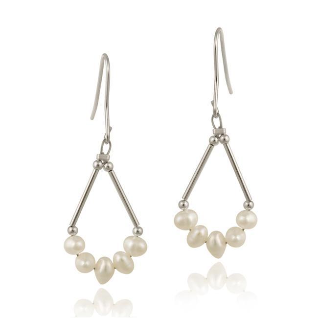 Glitzy Rocks Sterling Silver White Freshwater Pearl Boat Earrings (5-6 mm)