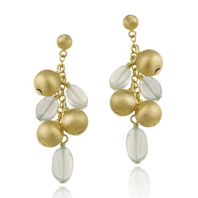 Glitzy Rocks 18k Gold over Silver Quartz Cluster Dangle Earrings