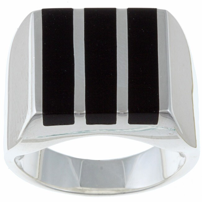 Gems For You Sterling Silver Men's Black Onyx Stripe Ring