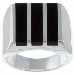 Gems For You Sterling Silver Men's Black Onyx Stripe Ring (More options available)
