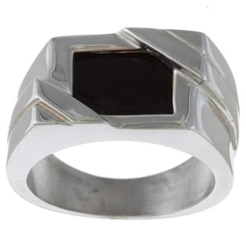 Gems For You Sterling Silver Men's Black Onyx Ring