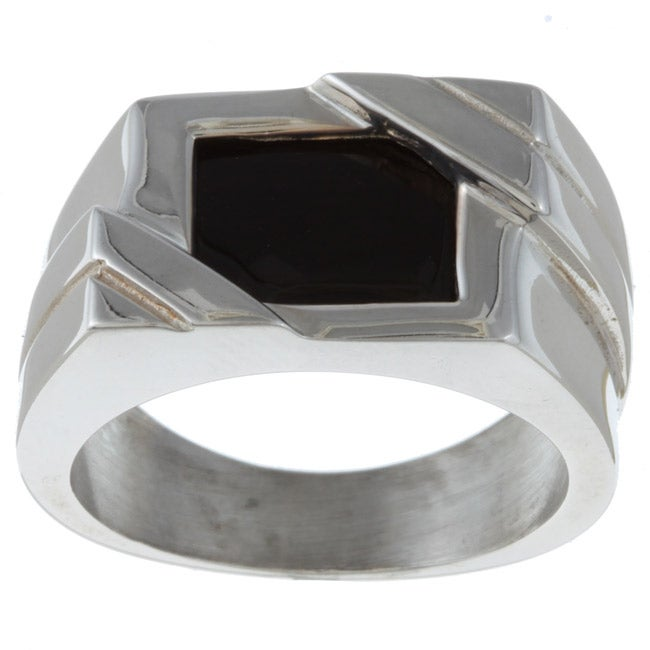 Gems For You Sterling Silver Mens Black Onyx Ring